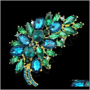 Pins Drop Delivery 2021 Big Size Full Crystal Accessories Small Flower Cluster Leaf Purple Brooches For Women Wedding Bouquets Gold Color Bro