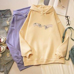 Loose Unisex Streetwear Pink Hoodies for Teen Girls Purple Sweatshirts Autumn Harajuku Hoodies Sweatshirt Thicken Fleece Hoodie