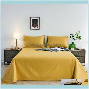 Sheets Bedding Supplies Gardensheets & Sets Solid Color Bed Sheet Breathable Er Soft Flat Multicolor Bedspreads For Quality Set Luxury Home
