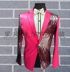 Red Purple Men Suits Designs Masculino Homme Terno Stage Costumes For Singers Sequin Blazer Dance Clothes Jacket Style Dress Men's & Blazers