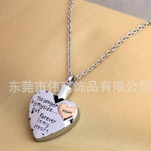 Silver heart stainless steel Memorial Necklace for mom,dad,pet,no Longer by My Side Forever in My Heart Cremation Pendant Jewelry 816 R2
