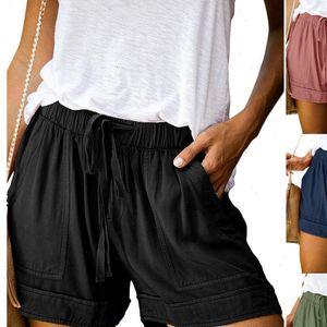 Pants spodenki for Size Women Casual Solid Multi Pocket Woman Drawstring Short Womens Shorts Plus