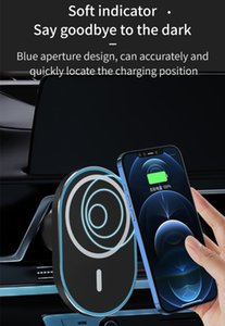 Min.1pcs Car Stand 15w Quick Charge Wireless Charger Universial Strong Magnetic Absorption Smart Phone Holder Aple Iphome 12