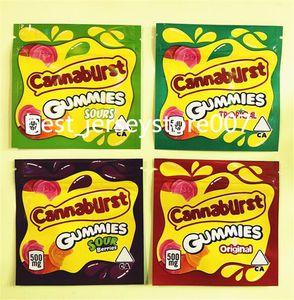 Cannaburst Gummies حقائب Mylar 500mg فارغة الاستوائية الحامض التوت y سستة الحقيبة رائحة برهان التخزين حقيبة التعبئة والتغليف مقاومة
