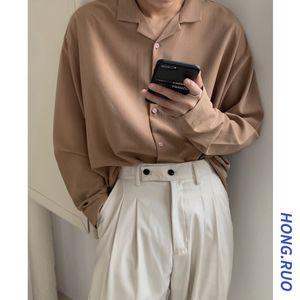 Shirt, Men's Suit Collar, Loose Fabric, Long Sleeve Fashion, Korean Version, Harajuku Style, Boyfriend Top, Casual Coat