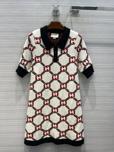 Designer Dress 2021 Autumn Winter Short Sleeve Lapel Neck Print Fashion Brand Same Style Skirts 0923-5
