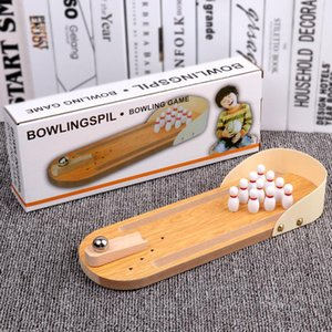 Mini bowling board game wooden children's puzzle innovative toy solid parent-child fun ball