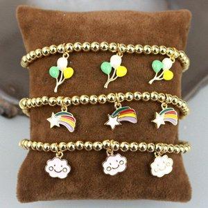 10 teile / los handgemachte überzogene perlen armband, bunte ballon / regenbogen / wolkenform etamel charme schmuck, mode armband großhandel link, kette