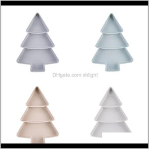 Bulk Kitchen Housekeeping Organization Home & Garden Drop Delivery 2021 Christmas Tree Shaped Fruit Tray Pure Color Snacks Candy Food Plastic
