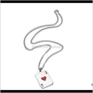& Pendants Drop Delivery 2021 Mens Necklace Hip Hop Fashion Stainless Steel Jewelry Ace Of Spades Pendant Necklaces 60Cm Long Link Chain Men