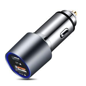 Портативное автомобильное зарядное устройство, USB QC3.0 PD двойной быстрый, полный алюминиевый сплав скользкий