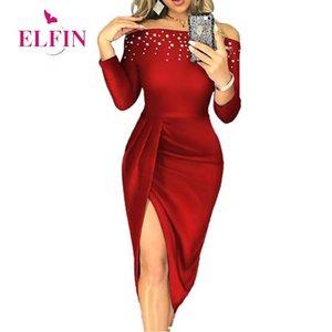 Red Banquet Vestidos Women Slim Sexy Slash Neck Beading Long Sleeve High Split Dress Ladies Elegant Party SJ5817R Casual Dresses