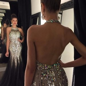 2021 Sexy Halter Gradient Evening Dresses Plus Size Mermaid Evening Party Gowns Beaded Crystal Formal Party Wear Gown