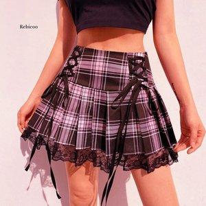 Mini Skirt Women High Waist Punk A Line Skirts Ladies Aesthetic Plaid Pleated Short Lace Up