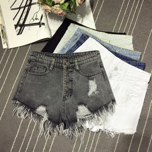 Ladies skirt Women Hole Ripped Jeans Fashion Tassel Denim Sexy High Waist Short Pants Summer Shorts Femme Buttons Pockets