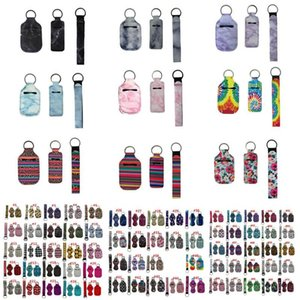 3 Pieces Travel Keychain Holders Kits Party Gifts Including 30ml Hand Sanitizer Holder Keyring Wristlet Keychains Lanyard Chapstick For Neop