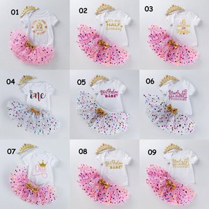 INS Baby Half Birthday Clothing Set Tutu Dot Skirt With Bow Romper Crown Headband 3pcs For Girl Photography Dress Halloween Princess Party Clothe