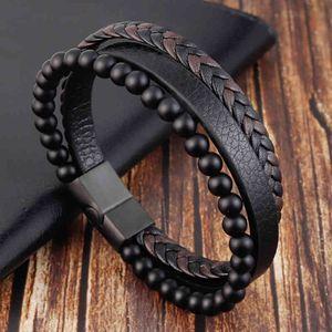 Corda in acciaio inox magnetico in pelle naturale in pelle naturale uomo braccialetto braccialetto perline braclet catena di braccialetti vulcanici