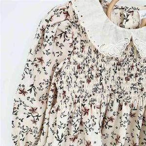 EnkeliBB Beautiful Toddler Girl Blouse Autumn Long Sleeve Floral Tops Cotton and Linen High Quality Peter Pan Collar 210331
