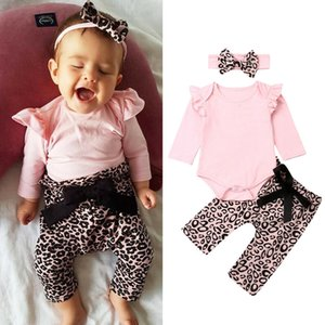 3PCs Baby Girls Floral Outfits Set Newborn Toddler Clothes Tops Pants Romper
