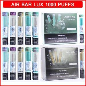 에어 바 럭스 일회용 vape 펜 장치 전자 담배 1000 퍼프 500mAh 배터리 미리 드릴 액체 카트리지 포드 스틱 기화기 Airbar Ecigarette