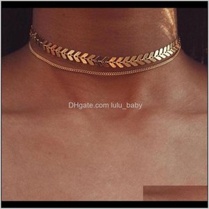 Chokers Multi Arrow Choker Sequins Two Necklaces Gold Color Fish Bone Double Layers Airplane Necklace Flat Chain C69Ng Kerog