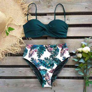 Sexy Leaf Print Bikini Female Swimsuit Women Swimwear Thong Push Up Bikinis Set High Waist Swimming Suits for Bathing Suit 210409