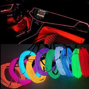 5M сигарат / USB Plup автомобиль интерьерное освещение Неоновая легкая гирлянда проволочная проволочная проволочная проволока веревка трубка окружающая среда светодиодная полоска украшения гибкая трубка 8 цветов AUTO LED 12V