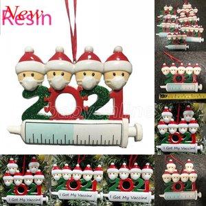 DHL 2021 nuova resina decorazione natalizia decorazione di quarantena ornamenti familiari di 1-9 teste addio albero fai da te accessori pendente con corda fy4645