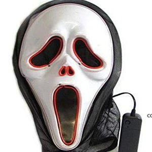 LED Luminous Screaming Ghost EL Wired Glowing Skull Mask for Halloween Horror Party Costumes accessories Creative Scary Mask DHA7551