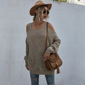 Женщины без бретелек негабаритные свитера повседневные с длинным рукавом от плеча пуловер пуловер женские свободные коренастые трикотажные вершины