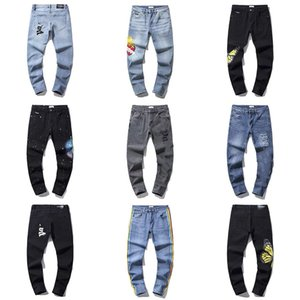 21SS angels palm pants jeans jogger long pant coconut printed colored ripped Slim fit holes distressed stretch trouser denim Trousers jean joggers
