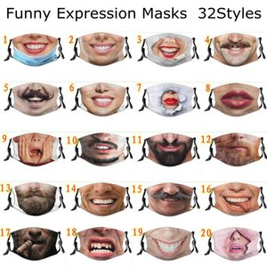 Funny Expression Masks Adjustable Dustproof Cotton Personality Beard Print Face Mask Washable Reuse Mouth Cover GWC7389