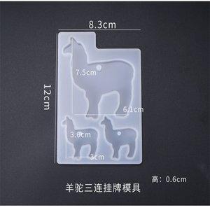 3pcs Crystal Epoxy Résine Eléphant Alpaca Bear Keychain Coulée Silicone Moule Ensemble DIY Crafts Bijoux Pendentif Fabriquer des outils 1405 Q2