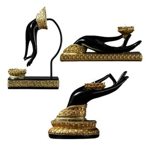 Candle Holders Bergamot Candlestick Resin Finger Gesture Holder Decor Buddhist Belief Home Decoration Collectible Welcoming