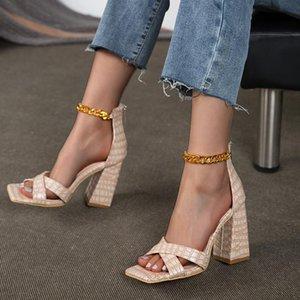 Sandals Square Toe Block Heels Espadrilles Platform Large Size Ankle Strap Female Shoe Chunky High Big High-heeled Clos