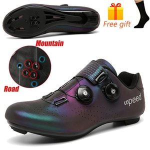 Discolor Cycling Shoes MTB Sneakers Man Mountain Bike Shoes SPD Cleats Road Bicycle Sports Outdoor Training Cycle Sneakers