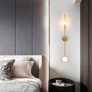 Wall Lamps Deyidn Postmodern Gold Lamp Indoor Copper Glass LED Light Bedside Sconce For Living Dining Room Bedroom Background