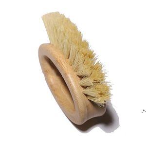 Wooden Handle Cleaning Brush Creative Oval Ring Sisal Dishwashing Brushs Natural Bamboo Household Kitchen Supplies EWF6309
