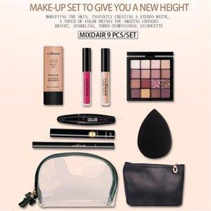 9PCS Set Black Gold Lip Color Gloss Eye Shadow Eyebrow Pencil Mascara Concealer BB Cream Puff Makeup Cosmetics Bag For Gifts Sets