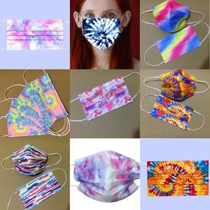 Tie-Dye Print Adult 3 Layer Cartoon Disposable Mask Party Men Women 95% Filtration Efficiency Dustproof Prevention of Influenza Face Masks