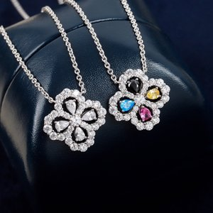 luxury jewelry necklace flower Pendants diamond sweater 925 Sterling Silver Rhodium Plated designer thin chain women necklaces fashion original box Ornaments