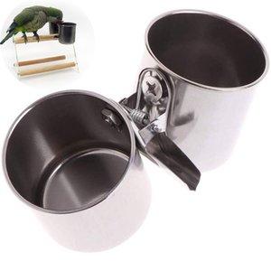 Paslanmaz Çelik Kuş Su Besleyici Yemekleri Papağan Pet Gıda Besleme Kelepçe Kafes Asılı Kase Dağıtıcı XBJK2104