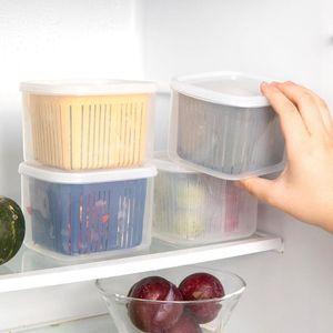 Double-layer Drain Box Nordic Style Kitchen Ginger Vegetable Fruit Refrigerator Sealed Garlic Storage E6R0 Bottles & Jars