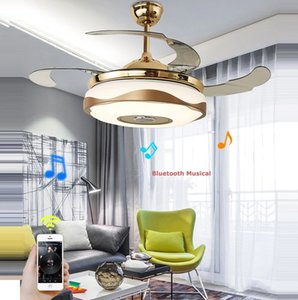 LED Modern Alloy Acryl ABS Bluetooth Musical Ceiling Fan.LED Lamp.LED Light Lights.