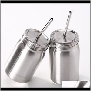 Other Drinkware Kitchen, Dining Bar Home & Garden Drop Delivery 2021 500Ml Double Stainless Steel Jar Mason With Lid St Coffee Beer Juice Cup