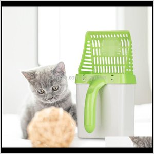 Grooming Litter Shovel Pet Tool Sand Cleaning Products Dog Food Scoops For Cat Toilet Training Kit With 15Pcs Waste Bag Ofve9 Fe5On