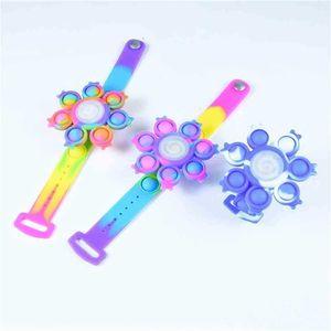 Luminous LED Silicone Bracelet Push Pops Bubble Fidget Bangle Spinners Decompression Anti Anxiety Bracelets Kids Wristband Halloween Christmas Gift G95NFFI