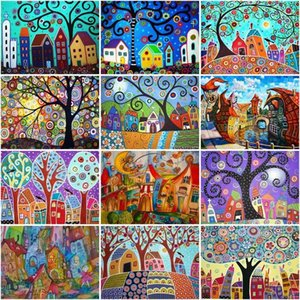 Paintings CHENISTORY Oil Painting By Numbers Cartoon Color Houses Landscape Kits Drawing Canvas Hand Painted Home Decor Diy Pictures Nu