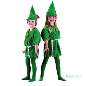 Fashion-Green Elf Peter Pan Cosplay Costume for Kids Adult Parent child Party Christmas Hallowmas Costumes Fun Party Decoration